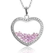 Astra February Birthstone Sterling Silver Heart Necklace