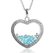 Astra March Birthstone Sterling Silver Heart Necklace