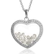 Astra April Birthstone Sterling Silver Heart Necklace