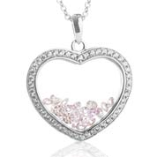 Astra June Birthstone Sterling Silver Heart Necklace