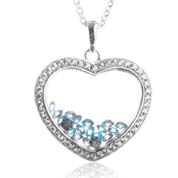 Astra September Birthstone Sterling Silver Heart Necklace