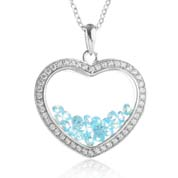 Astra December Birthstone Sterling Silver Heart Necklace