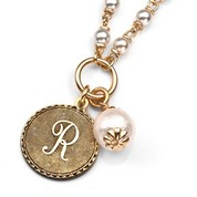 R Initial Gold Plated & Cotton Pearl Necklace by John Wind