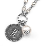 H Initial Silver Plated & Cotton Pearl Necklace by John Wind