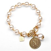 N Initial Gold Plated & Cotton Pearl Bracelet by John Wind