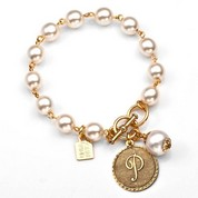 P Initial Gold Plated & Cotton Pearl Bracelet by John Wind