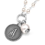 Initials - Silver Plate & Cotton Pearl Necklace by John Wind