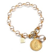 Initials - Gold Plated & Cotton Pearl Bracelets by John Wind