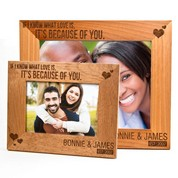 Because of You Alder Wood Personalized Picture Frames