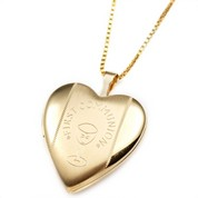 Gold Filled 1st Communion 2 Photo Heart Locket 3/4 Inch