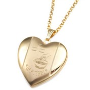Cross Gold Filled Baptism 2 Photo Heart Locket 15/16 Inch