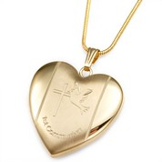 Brave Dove Gold 1st Communion Personalized Locket