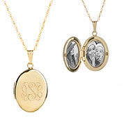 14K Gold Filled Engraved Locket Necklace