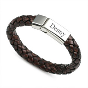 Braided Brown Leather & Stainless ID Bracelet 8 - 8 1/2 Inch