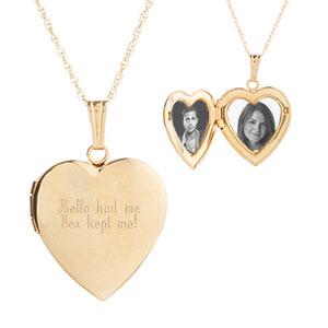 14K Gold Loving Heart Personalized Lockets