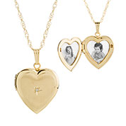 Gold Filled Diamond 2 Pic Engraved Heart Locket