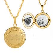 14K Gold Filled Bordered Engraved Locket Necklace