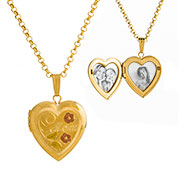 Flower Adorned 14K Gold Engraved Locket
