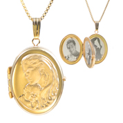 14K Gold Mother & Child Engraved Locket