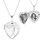 Interlocking Hearts Silver Engraved Locket Necklace