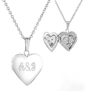 Sterling Silver Girls Engraved Lockets Necklace