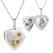 Silver Flowers Heart Engraved Locket for Women
