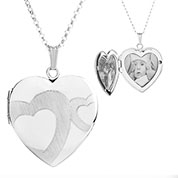 Sterling Silver Touching Hearts Personalized Locket Necklace
