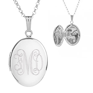 Sterling Silver Oval Personalized Locket Necklace for Her