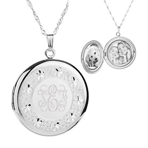 Sterling Silver Hand Etched Border Engraved Lockets