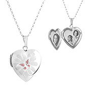 Butterfly Sterling Engraved Lockets Necklace