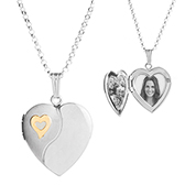 Silver 14K Gold Heart Personalized Locket Necklace