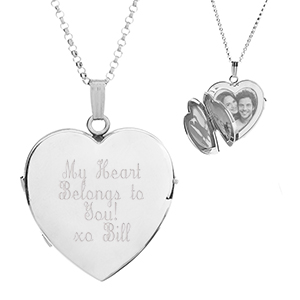 Lydia Four Photo Heart Engraved Locket