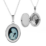 Mother & Child Cameo 14K White Gold Personalized Locket