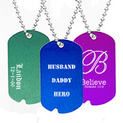 Personalized Notched Aluminum Dog Tag Necklace 24 In