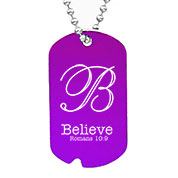 Personalized Purple Notched Aluminum Dog Tag Necklace 24 In