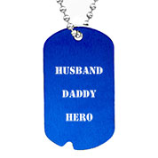 Personalized Blue Notched Aluminum Dog Tag Necklace 24 In