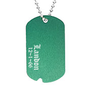 Personalized Green Notched Aluminum Dog Tag Necklace 24 In