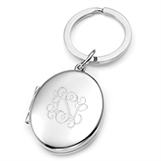 Silver Personalized Locket Keychain