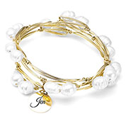 Pearl Stacked Bracelet with Charm Extra Large