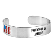 Personalized American Flag Stainless Cuff Bracelet Medium