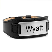 Personalized Black Leather Adjustable Bracelet & Tag