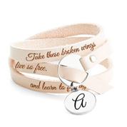 Personalized Leather Wrap Charm Bracelet