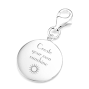 Personalized Sterling Silver Round Charm for Bracelets