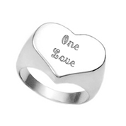Polished Stainless Steel Heart Shaped Ring Size 7