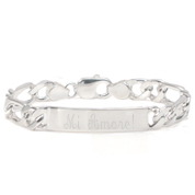 Sterling Silver Figaro Engraved ID Bracelet