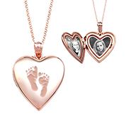 Rose Gold Heart-Shaped Baby Footprint Necklace