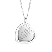 Rotating Personalized Silver Heart Frame Pendant