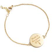 Round Gold Engravable Charm Bracelet