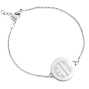 Round Silver Engravable Charm Bracelet
