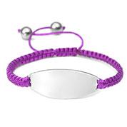 Purple Macrame Engraved Bracelet Adjustable